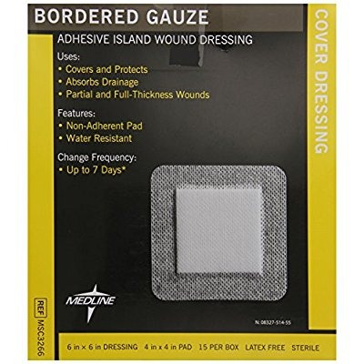 Medline Gasa Border Compresa Estéril, 6 Pulgadas X 6 Pulgada