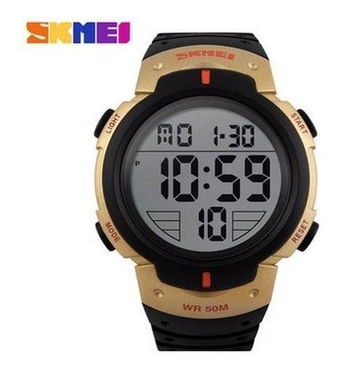 Relógio Skmei 1068 Sports Digital Led Military Preto/dourad