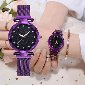 Relógio Céu Estrelado Feminino Pulseira Magnetica