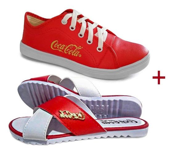 Tênis Feminino Casual Coca Cola Promoção + Sandália Oferta