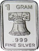 Barra De Prata Pura 999 De 1 Grama Liberty Bell- Sino (886)