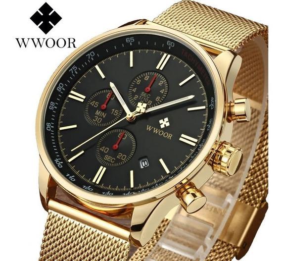 Relógio Masculino Social Luxo Wwoor 8862 Envio Imediato Nf-e