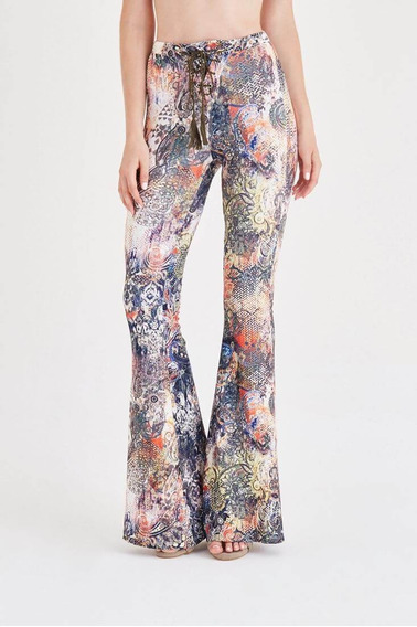 Calças (feminino) Mixed Printed Flare Leg Pants