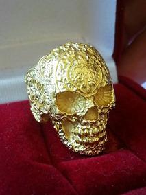 Anel Caveira Mexicana Em Prata Banhada A Ouro
