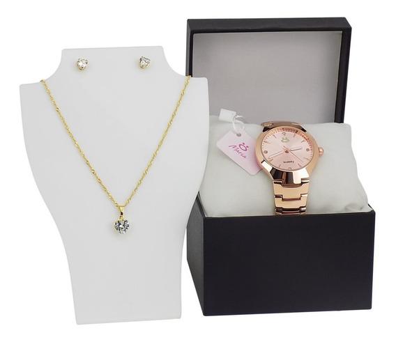 Relógio Dourado Feminino Original + Colar + Brincos - 3a24