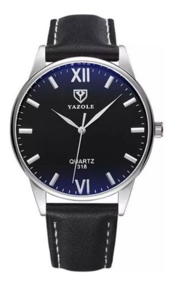 Relógio Masculino Pulseira De Couro Social Luxo Barato N2