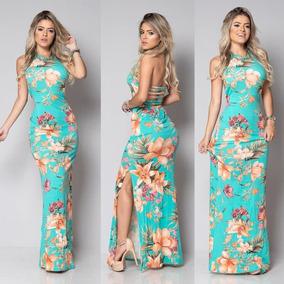 f7915f8927 Vestido Longo Feminino Com Bojo Estampa Primavera-verão 2018