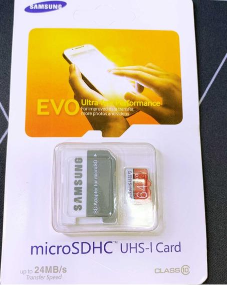 Cartão De Memória 64gb | Samsung Evo | Classe 10 | + Brinde