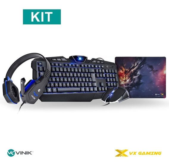 Kit Gamer Teclado E Mouse + Headset + Mouse Pad