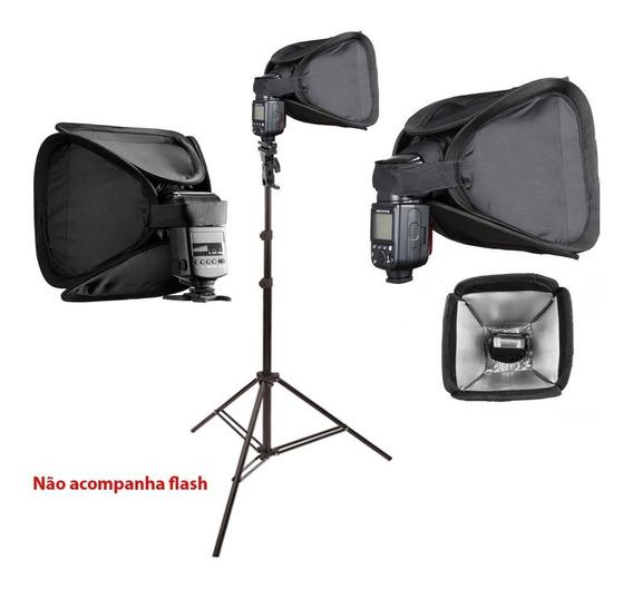 Kit Mini Softbox 23x23cm P/ Flash Speedlight Com Tripé 2m