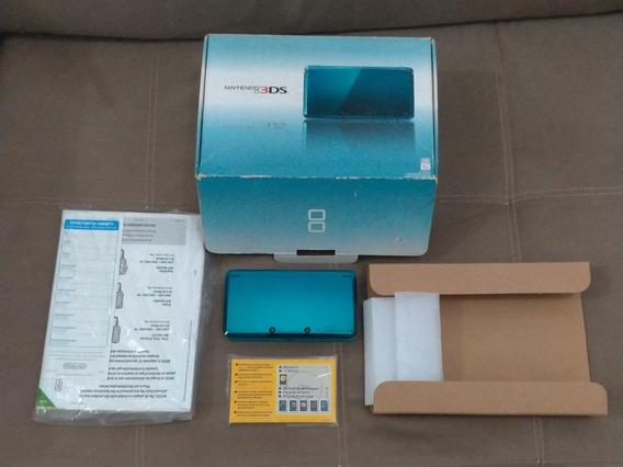 Nintendo 3ds Acqua Blue Impecável Caixa Manual Impecável