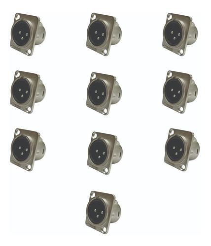 Kit C/ 10 Conectores Plug Xlr Painel Macho Wireconex