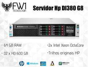 Servidor Hp Dl380 G8/ 2x Octacore/ 64 Gb Ram/ 1.2tb Em Disco