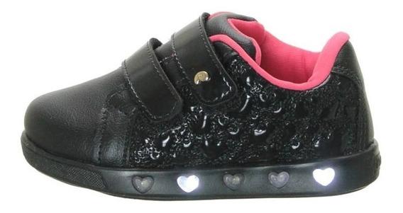 Tênis Pampili Sneaker Luz Preto Verniz Nº 22 Ao 29