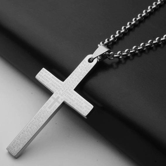 Colar Crucifixo Masculino Aço Inox Prata E Azul 61080