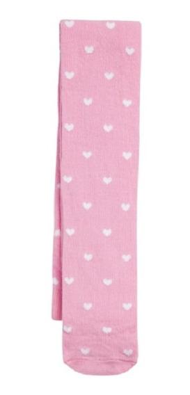 Meia Calça Infantil Bebê Rosa Estampa Coração Inverno Pucket