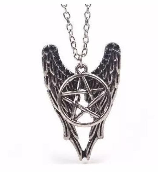 Kit 20 Colares Supernatural Castiel Asas E Pentagrama Revend