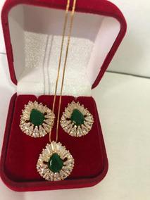 Conjunto De Esmeralda Verde Com Pedras Frete Gratis