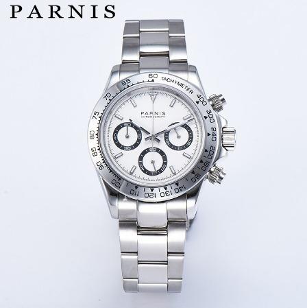 Relógio Parnis Daytona Chronograph Mecaquartz, Estilo Rolex