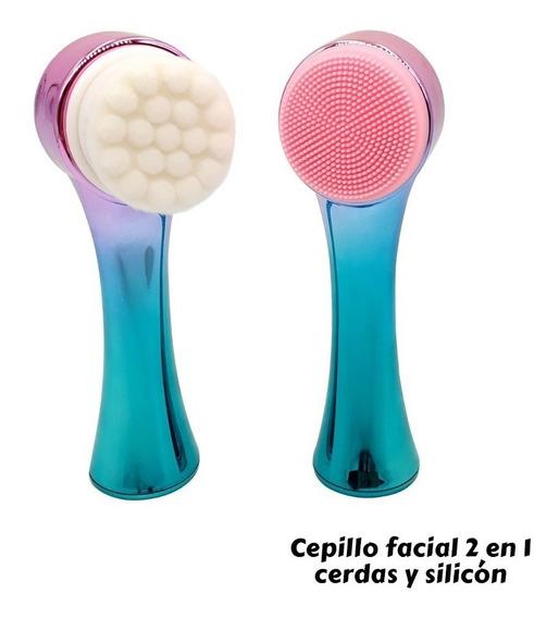 Cepillo Facial Masajeador Con Mango 2 En 1