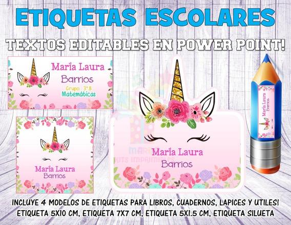 Kit Imprimible Etiquetas Escolares Unicornio Mod 1