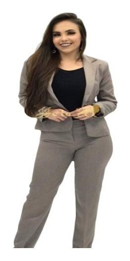 Terno Feminino Cáqui Blazer+saia+calça Jjota Confecções.