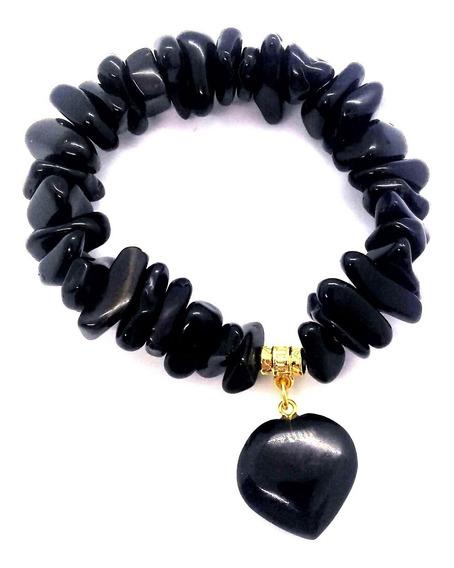 Pulseira De Turmalina Negra C/ Coração Pedra De Proteção
