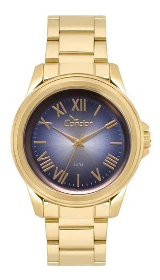 Relógio Masculino Dourado Números Romanos Co2039az4a