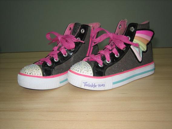 Zapato Con Luces Niña Negro Talla 12.5/29 Skechers Original