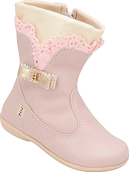 Bota Infantil Menina Plis Calçados Rosa Laço 862