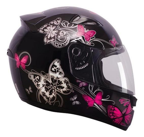Capacete para moto integral EBF Capacetes New Spark Borboleta preto/rosa L