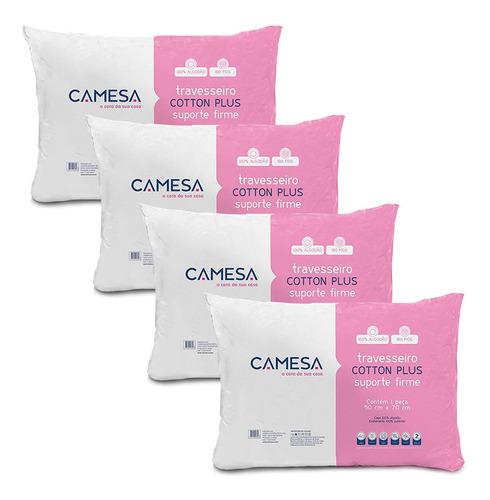 Kit 4 Travesseiros Cotton Plus Suporte Firme 180 Fios Camesa