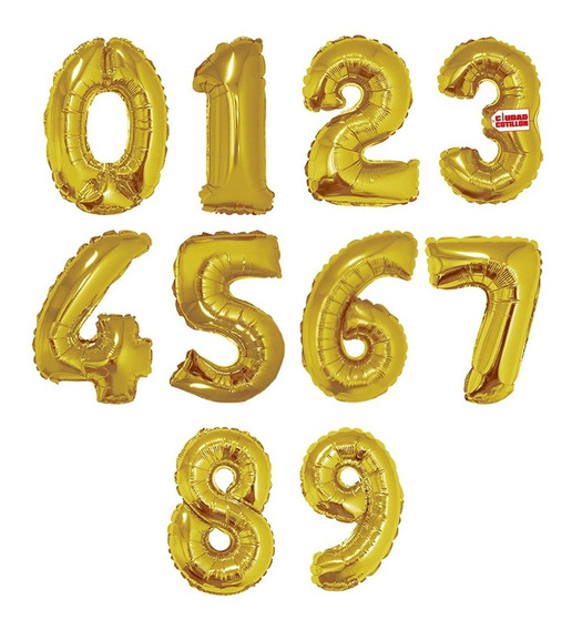 Globos Números Metalizados Dorado 14 Pulgadas X 1 - Cc