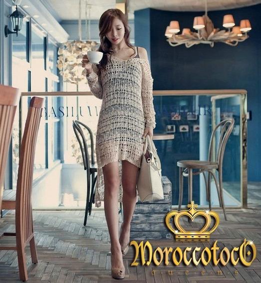 Vestido Crochet Largo Irregular Sensual Importado Art 8080