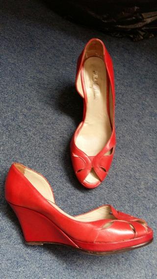 Zapatos Sandalias Mujer Rojos Cuero Genuino Finos 39 Febo