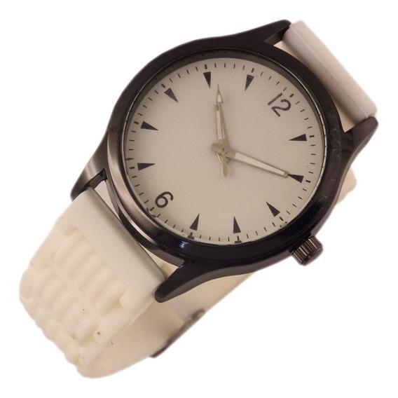 Relógio Unissex Quartz Com Pulseira Branca Em Borracha B5638