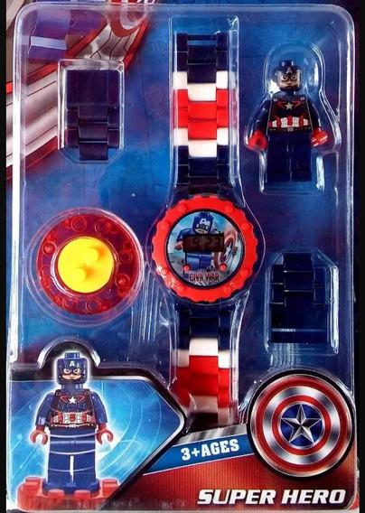 Relógio Infantil Capitão América Com Peças Para Montar