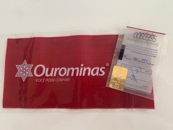 Ouro Puro 24k 1g Barra Pureza 999 Certificada Frete Grátis