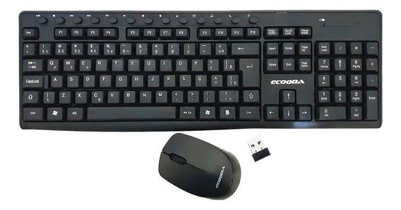 Kit Teclado Mouse Sem Fio Wireless Gamer 2.4ghz Multimídia