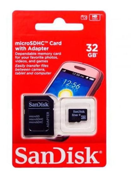 Cartão Memória 32 Gb Classe 4 Sandisk Original C/ Adaptador