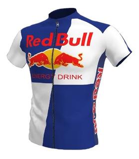 Camisa Ciclismo Bike Red Bull Azul Branca Ziper Total