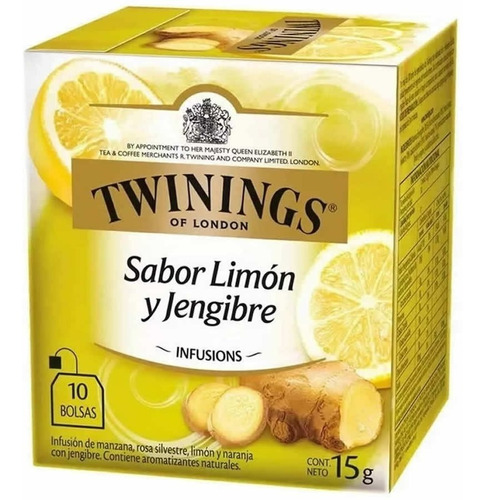 Te Twinings Limon Y Jengibre Caja X 10 Saquitos