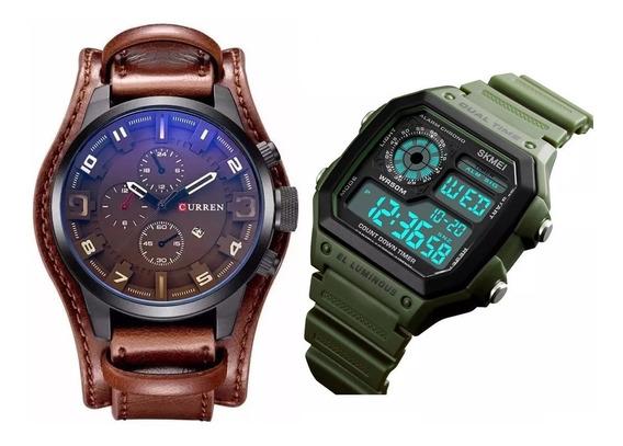 Relógio Masculino Couro Curren 8225 Skmei Digital Verde Led