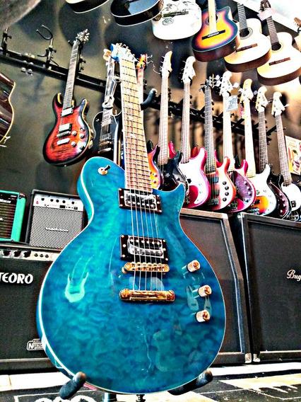 Guitarra Phx Psr Lpv 8 Tigrada Azul Les Paul Myrben Oferta!!