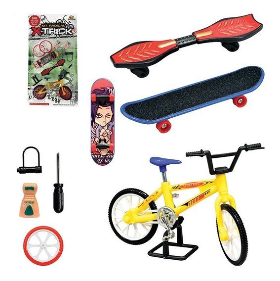 Mini Bicicleta E Skate De Dedo Com 12 Acessórios