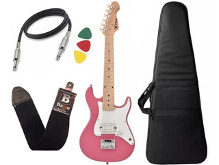Guitarra Eletrica Infantil Criança Phx Isth Rosa Pink Capa