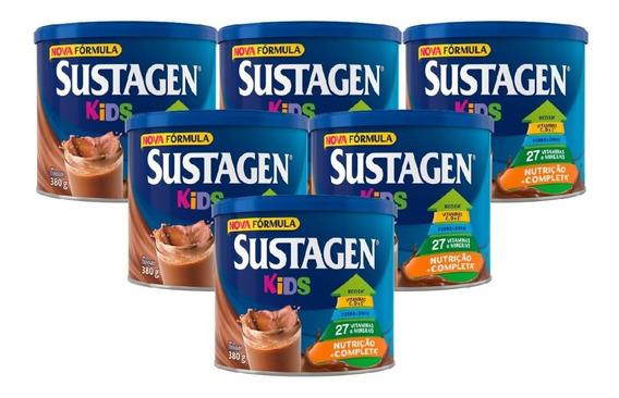 Sustagen Kids Nutrição Infantil 380g Chocolate - 6 Unid.