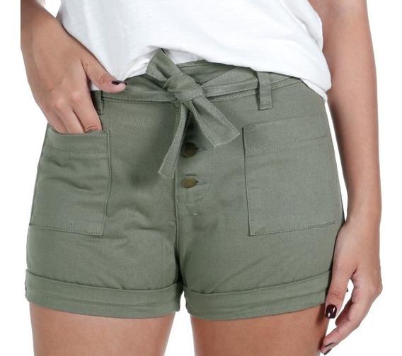 Shorts Feminino Em Sarja Treme Terra Verde