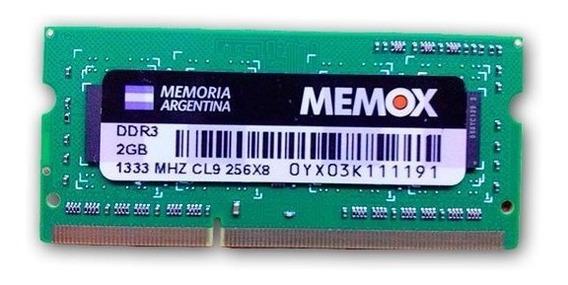 Memoria Ddr3 Sodimm 1333 Mhz 2gb Memox Para Notebooks