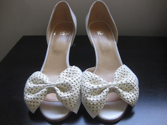 Sandalias Zapatos De Cuero Blanco Con Moño Mishka Divinas!!